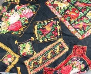 "Rayon/Blend Floral Print-VINTAGE FABRIC 1.1 Yd 28"" wide"