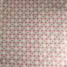 "Pink Check, Blue Stars-Cotton VINTAGE FABRIC 1 Yd 44""W"