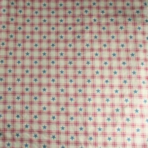 """Pink Check, Blue Stars-Cotton VINTAGE FABRIC 1 Yd 44""""W"""