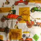 "Large Print Old Cars Cotton VINTAGE FABRIC 1.78 Yd 45""W"