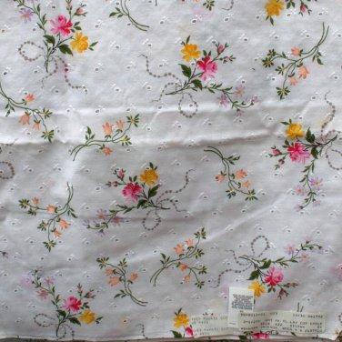 "Leiters Floral Print Eyelet Cotton Pink,Yellow,Lavendar on White VINTAGE FABRIC 3.55 Yd 50"""