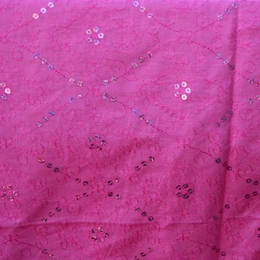 """Pink Sequin Embroidered Muslin India Unmarked Cotton VINTAGE FABRIC 5.11 Yd 56""""W"""