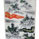 Japanese Meisen Kimono Silk Clouds & Trees VINTAGE FABRIC 116 x 14 Inches
