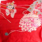 Japanese Kimono Red Children Silk Panel-VINTAGE FABRIC 56 x 14 Inches