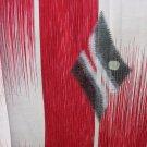Japanese Meisen Kimono Silk Red,White,Silver Metallic Medallion VINTAGE FABRIC 121 x 14 Inches