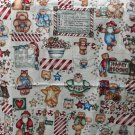 "Marcus Bros Dianna Marcum Cotton Fabric Happy Holidays Bear Print 1.94 Yd 44""W"