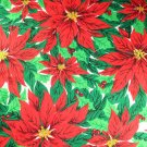 Christmas Large Scale Poinsettia Drapery Weight Cotton VINTAGE FABRIC 2 Yd, 54 Inches