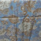 Pastel Blue Brown Tulip Print Rayon Blend VINTAGE FABRIC 3.88 Yd 45 W