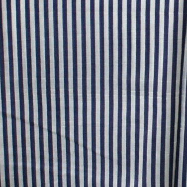 "Vintage Silk Shantung Fabric Navy & White Stripe 1.55 Yd 44""W"