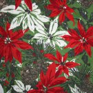"Christmas Drapery Weight Large Scale Poinsettia-Cotton or Blend VINTAGE FABRIC 2 Yd. 54""W"