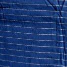 """Vintage Silk Shantung Fabric Navy & Silver Stripes 1 .5 Yd 42""""W"""
