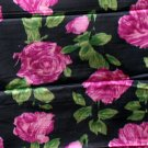 """Vintage Silk Charmeuse Fabric Pink Floral 1.5 Yd 44""""W"""