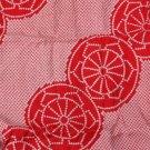 Japanese Kimono Red Diagonal Balls Silk VINTAGE FABRIC 112 x 13 Inches