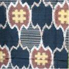 Japanese Meisen Kimono Silk Geometric Motifs Black VINTAGE FABRIC 62 x 14 Inches