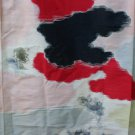 Japanese Meisen Kimono Silk Cloud Hand Painted Flowers VINTAGE FABRIC 117 x 14 & 10 Inches