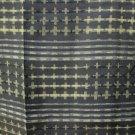 2 Japanese Meisen Kimono Silk Dk Green Crosses Bars VINTAGE FABRIC 60 x 10 In