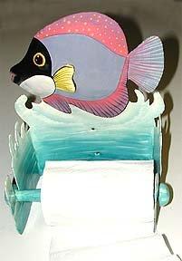 BLACK & PURPLE TROPICAL FISH METAL ART TOILET PAPER HOLDER