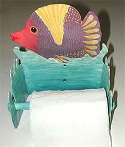 PUNKY PINK FACED TROPICAL FISH METAL ART TOILET PAPER HOLDER