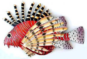 COLORFUL RED FIREFISH METAL WALL ART