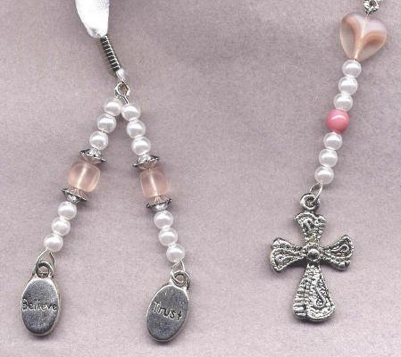 Bookmark Ribbon Beads Charm Cross 4