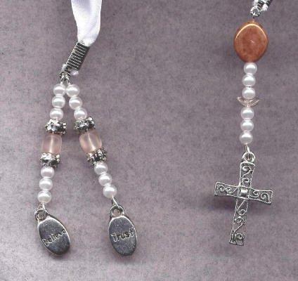 Bookmark Ribbon Beads Charm Cross 15