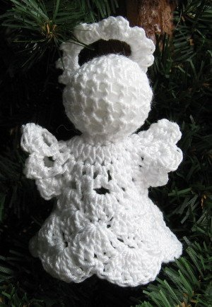 crochet angel christmas ornament shell 1 4 handmade by 1733 shoppe - Handmade Angels Christmas Decorations