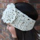 Headband Ear Warmer Crochet Head Wrap Ivory Tweed B1