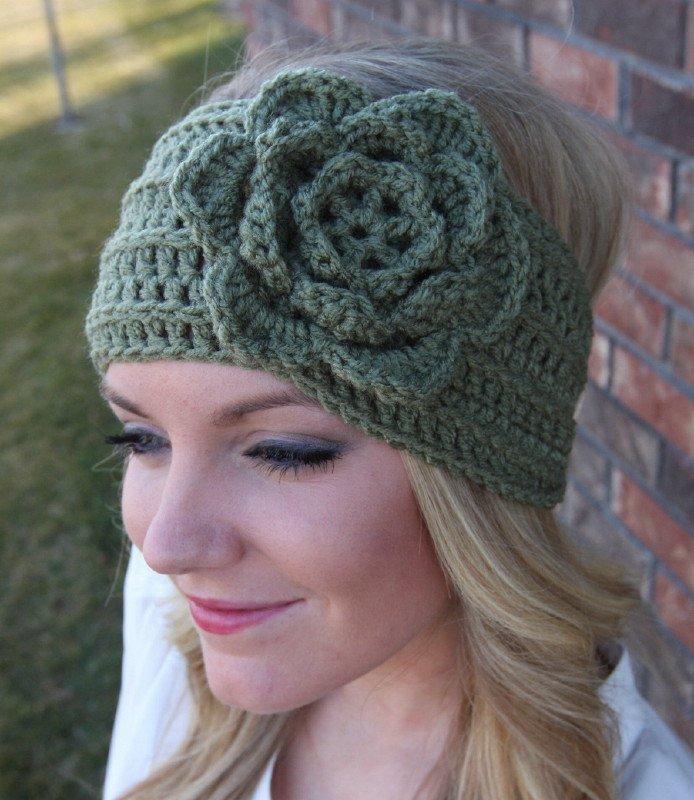 Headband Ear Warmer Crochet Head Wrap Green A2