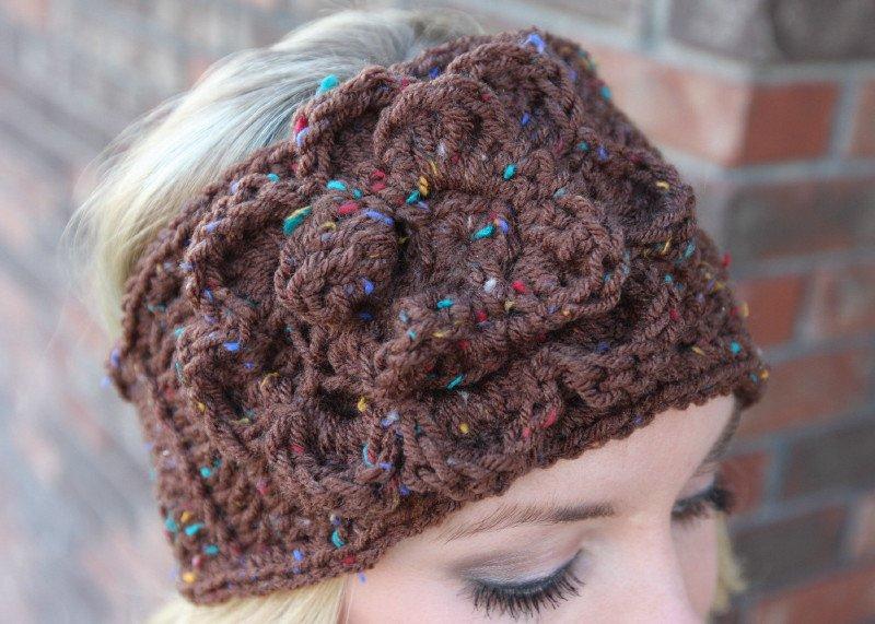 Headband Ear Warmer Crochet Brown Tweed  Head Wrap B2