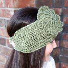 Headband Ear Warmer Crochet  Green Twist Flower  Head Wrap D2