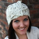 Headband Ear Warmer Crochet Ivory Tweed Star Head Wrap B3