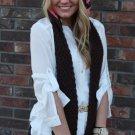 Skoodie Scarf Hat Hoodie Crochet Pink Brown SK1