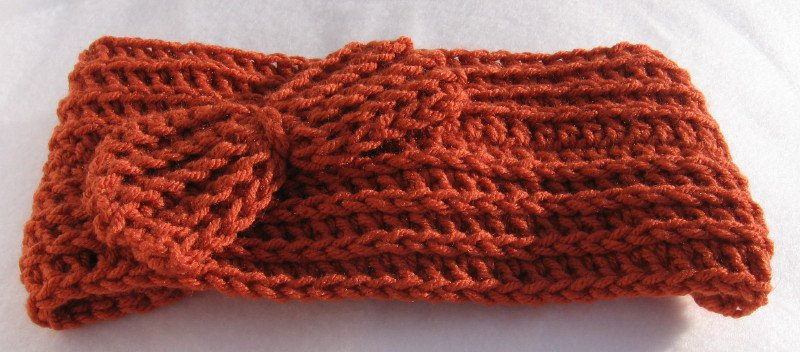 Headband Crochet Burnt Orange RidgeAround Bow Ear Warmer Head Wrap A5