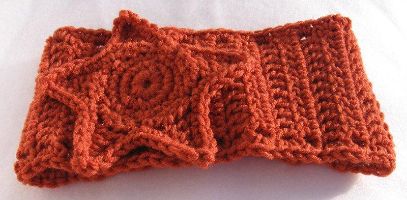 Headband Crochet Burnt Orange UPDown Star Ear Warmer Head Wrap B4