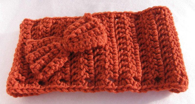 Headband Crochet Burnt Orange UPDown Bow Ear Warmer Head Wrap B5