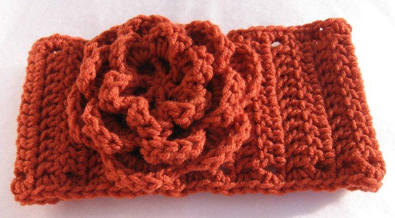 Headband Crochet Burnt Orange UPDown Flower Ear Warmer Head Wrap B6