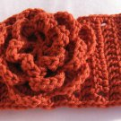 Headband Crochet Burnt Orange UPDown Flower Ear Warmer Head Wrap B6