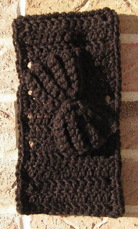 Headband Crochet Black UPDown Bow Ear Warmer Head Wrap B8