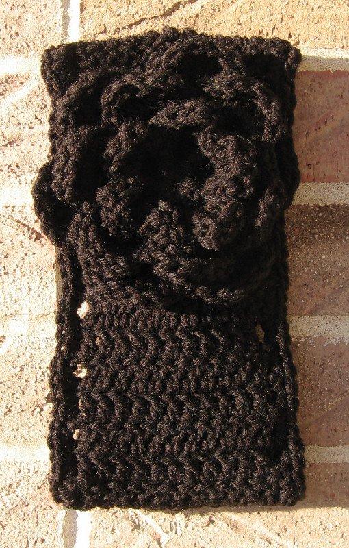Headband Crochet Black UPDown Flower Ear Warmer Head Wrap B7