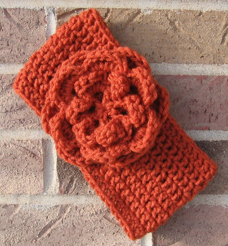 Headband Crochet Burnt Orange Flower Around Ear Warmer Head Wrap D3