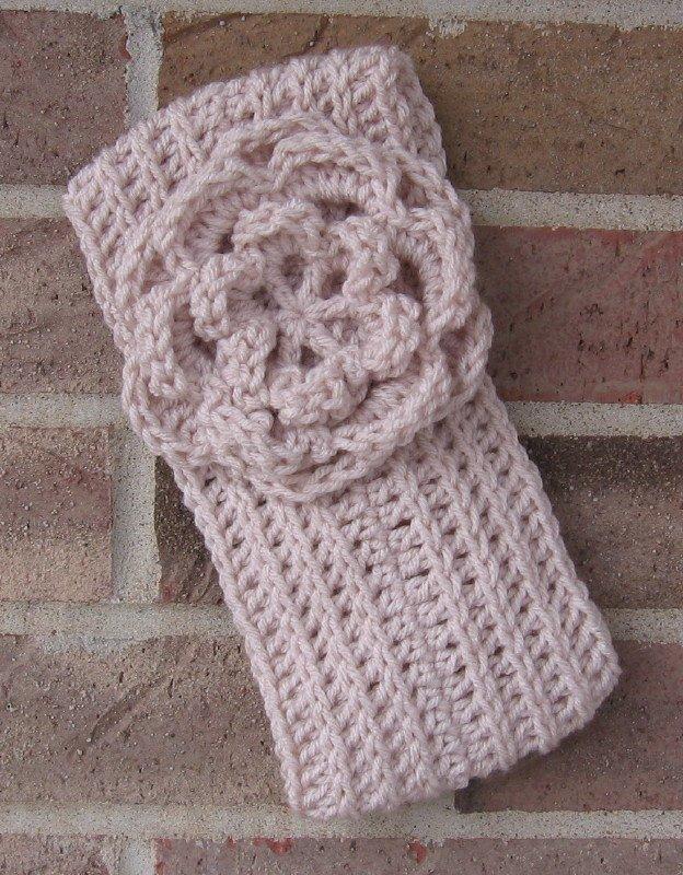 Headband Crochet Flower Linen RidgeAround Ear Warmer Head Wrap A8