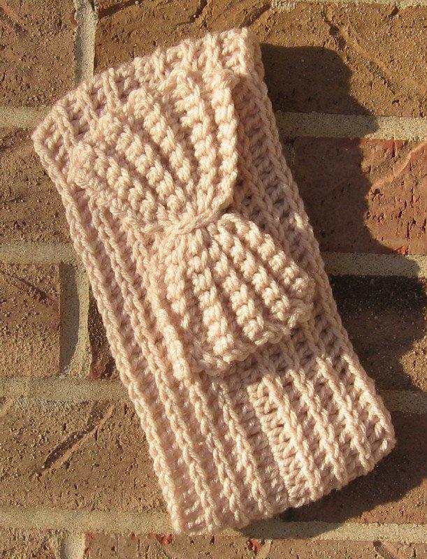 Headband Crochet Bow Linen RidgeAround Ear Warmer Head Wrap A9