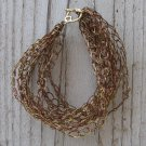 Crochet Bracelet Brown and Gold Chain Wire Colored Copper WJ2