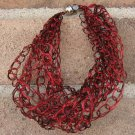 Crochet Bracelet Red and Black Chain Wire Colored Copper WJ5