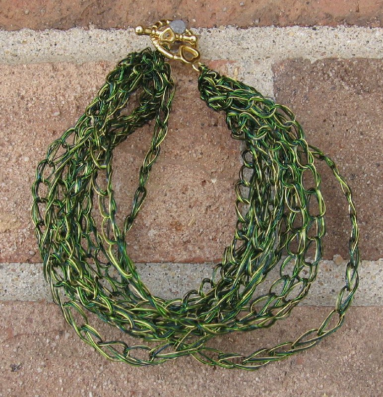 Crochet Bracelet Green and Gold Chain Wire Colored Copper WG1