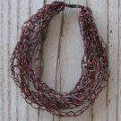 Crochet Bracelet Red, Black and Silver Chain Wire Colored Copper WG2