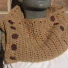 Crochet Scarf Cowl Taupe Handmade Button SC1