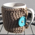 Crochet Coffee Tea Mug Cup Cozy Taupe Blue Button MC2