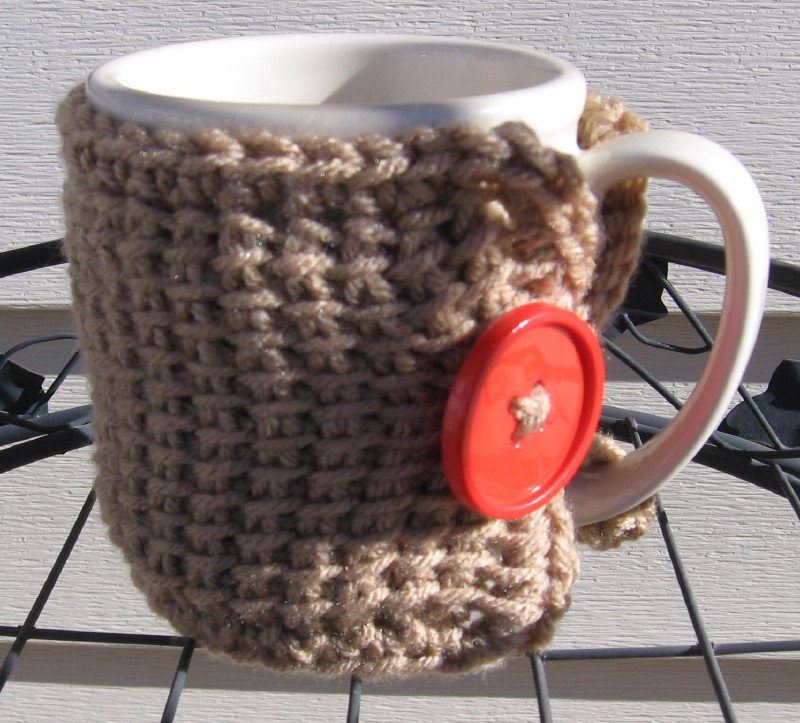 Crochet Coffee Tea Mug Cup Cozy Taupe Orange Button MC3