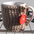 Crochet Coffee Tea Mug Cup Cozy Taupe Orange Button MC3